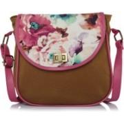 Haqeeba Haqeeba Women Casual Brown Pink Multicolored Floral Garden Canvas Sling bag Multicolor Sling Bag