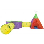 FUN Colorful Play Tent for Kids. 4 in 1 Pop-up Set. Playhouse has 2 Crawl Tunnels, Teepee, Ball Pool. Portable Indoor & Outdoor Use for Creative Adventures. Kit Comes in Zipper Storage Bag by Kidring