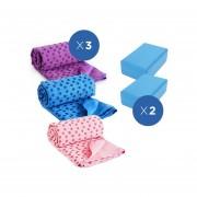 Toalla De Yoga Con Bolso Pack 3x + Ladrillo De Yoga 2x Pack