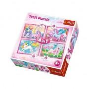 Puzzle Trefl 4 in 1, Lumea minunata a unicornilor, 207 piese
