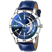 New Katrodiya Blue Leather Day Date Professional Analog Watch For Men