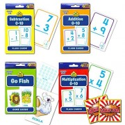School Zone Flash Cards Math Set Kids -- 4 Packs (Addition, Subtraction, Multiplication, Go Fish, Stickers)