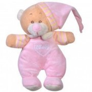 Jucarie bebe ursulet plus roz pijamale