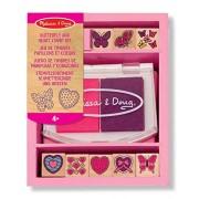 Butterfly & Heart Themed Wooden Stamp Set + FREE Melissa & Doug Scratch Art Mini-Pad Bundle [24150]