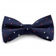 Tailor Toki Nœud papillon bleu nuit à pois et fleurs rouges et blancs