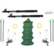 Set complet pescuit format din 2 lansete 2 mulinete 4 suporti 4 forface 2 bambine 1 juvenic 1 racheta momit