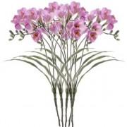 Bellatio flowers & plants 5x Kunstbloemen freesia lila 63 cm