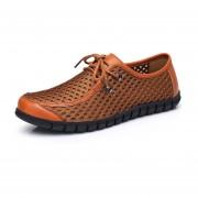E-Thinker- Ecocuero Genuino Moda Hombres Zapatos Casuales -marrón
