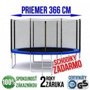 TRAMPOLÍNA 366 CM + REBRÍK + OCHRANNÁ SIEŤ