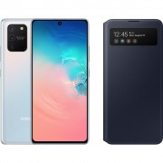 Samsung Galaxy S10 Lite Wit + Samsung S View Wallet Cover Zwart