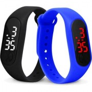 M K Trading m2 Digit Black and Blue Pack Of 2 LED Wrist Watch For Boys Men Girls