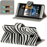 HTC One mini M4 - Flip hoes, cover, case - PU leder - Zebra