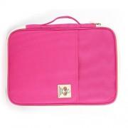 Office Supplies Multi-purpose Zipper Document Folder A4 Storage Bag (Pink)
