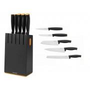 Fiskars Zestaw 5 noży w czarnym bloku (1014190)