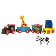 Magnetic Train Toy Wooden Animal Learning Train Set with 4 Trains 3 Wooden Animals for Boys and Girls Toddlers by Hey! Play!