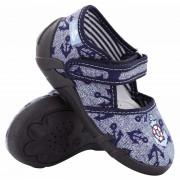 Pantofi baietel cu scai, din material textil, bleumarin, cu motiv