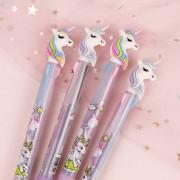 Cute Kawaii Cartoon Animal Unicorn Press Ballpoint Pen 3-color Ball Pen Multi-Colored Stylo for Kids School Stationery Gift