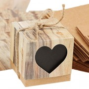 ELECTROPRIME® 50pcs Hearts in Love Kraft Candy Box Boxes Case Rustic Wedding Favor Gift