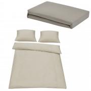[neu.haus]® Set ropa de cama 200x200cm (Set: 1x funda nórdica, 2x funda almohada) + Sábana bajera ajustable 'Jersey' 180-200x200cm - ARENA