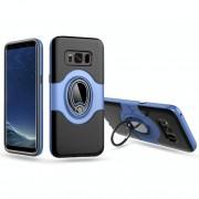 Samsung Galaxy S8 Volledig bedekkend schokbestendig Kunststof back cover Hoesje met magnetische & roterende Ring houder (blauw)