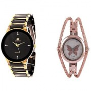 IIK Black-Gold Men and Round Dial Butterfly Chain Copar Women Watches Couple for Men and Women