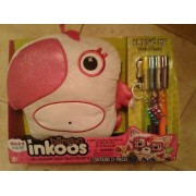 LARGE Blingoo Inkoos Plush PARROT with Gems, Glitter Glue Pens & Markers - PINK and WHITE
