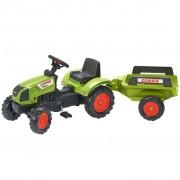 FALK Tracteur à chevaucher à pédale avec remorque Claas Arion 410 Vert