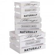 IDIMEX Lot de 3 cagettes en bois CHENOA, lasuré blanc