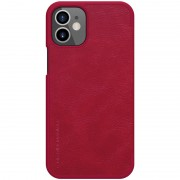 NILLKIN Qin Series Leather Unique Shell with Card Slot Phone Case for iPhone 12 5.4 inch - Red