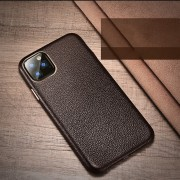 XOOMZ Litchi Grain Genuine Leather Phone Casing for iPhone 11 Pro Max 6.5 inch (2019) - Coffee