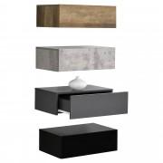 4 броя нощни шкафчета за стенен монтаж с едно чекмедже [en.casa]® , Дърво/Бетон/Тъмносив/Черен, 46x30x15cm