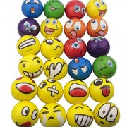 Mydio Set of 24 Emoji Stress Balls, Stress Reliver Party Favor, Soft PU Emoji Ball, Assorted Colors, Random Pattern, Party Toys, 24 Pack