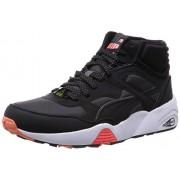 Puma Unisex R698 Winter Black, Dark Shadow and White Mesh Sneakers - 7 UK