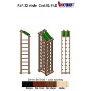 Raft din lemn tip display pentru 22 sticle