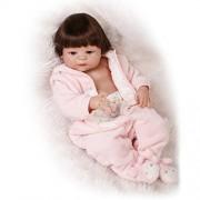 NPKDOLL Reborn Baby Doll Hard Simulation Silicone Vinyl 22inch 55cm Lifelike Vivid Waterproof Boy Girl Toy Pink Dress Wig
