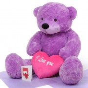 3.5 feet big purple teddy bear with pink I Love You Heart