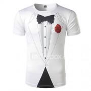 Heren Eenvoudig Actief Lente Zomer T-shirt,Uitgaan Strand Vakantie Print Ronde hals Korte mouw Polyester Medium