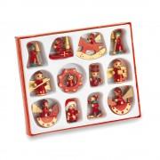 Set 12 decoratiuni micute de Craciun, Everestus, 20IAN2567, Rosu, Lemn, 2 bastonase gonflabile incluse