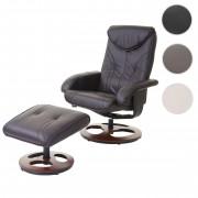 Relaxsessel HWC-C46, Fernsehsessel Sessel mit Hocker, Kunstleder ~ Variantenangebot