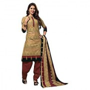 Dfolks Womens Cotton Printed beige salwar Suit(Unstitched)Df0059