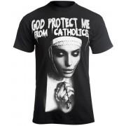 t-shirt hardcore pour hommes - GOD PROTECT ME FROM CATHOLICS - AMENOMEN - OMEN098KM
