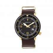 Morphic M58 Series Nato Leather-Band Watch w/ Date - Gold/Dark Brown MPH5804
