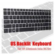 Teclado retroiluminado de EE. UU. para HP Elitebook folio 9470 m PC ordenador portátil Notebook LA