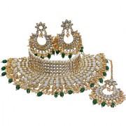 Lucky Jewellery Kundan Green Color Gold Plating Choker Necklace Set For Girls Women