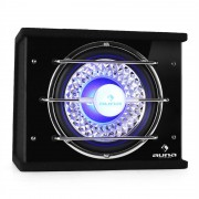 """Auna Bassbox Subwoofer 25cm (10"""") 300W RMS, 600W max. power efeito de luz azul"""