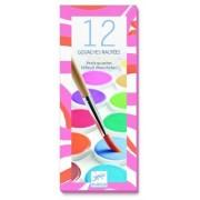 Zestaw 12 farb gwaszowych dla dzieci kolory pastelowe, materiały plastyczne do szkoły DJECO DJ09739