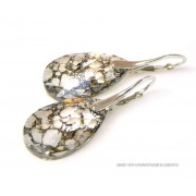 "Bijou Gio Design™ Zilveren Oorringen met Swarovski Elements Pear-Shaped ""Crystal Gold Patina"""