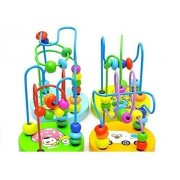 Colorful Baby Kids Children Wooden Toy Mini Around Beads Wire Maze Educational Game