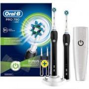 Комплект електрически четки за зъби Oral-B PRO 790 CrossAction, Презареждащи, 1 програма, 1 глава, Бял/Черен