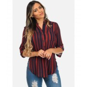 CheapChic Navy and Orange Stripe Print Long Roll-Up Sleeve Stylish Blouse Multicolor